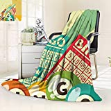 Blanket Comfort Warmth Soft Bingo Game Ball Cards Pop Art Stylized Lottery Hobby Celebration Theme,Silky Soft,Anti-Static,2 Ply Thick Blanket. (80''x60'')
