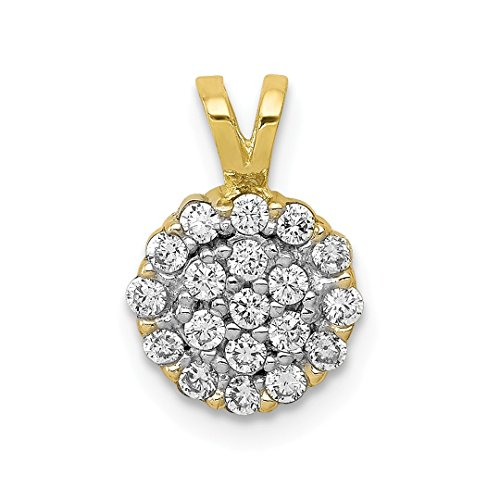 10k Yellow Gold Cubic Zirconia Cz Cluster Pendant Charm Necklace Fine Jewelry Gifts For Women For -