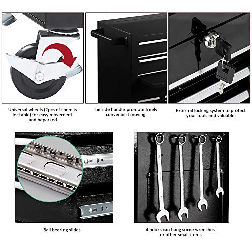 2Pcs Tool Storage Box Portable Top Chest Rolling Tool Box Organizer Sliding Drawers Cabinet Keyed Locking System Toolbox Black by Suny Deals (Image #6)