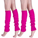 Girls Teen 80s Dance Plain Ribbed Women Knit Crochet Long Leg Warmers Fancy Dress