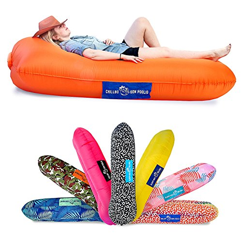 Chillbo Don POOLIO Pool Floats for Adults - Cool Patterns, Inflatable Sofa & Kids Hammock - Best Camping Gear for River Floats Hammock Chair & Raft for Beach (Orange + Blue)