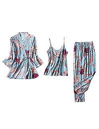 CCOOfhhc_Sleepwear Pijama para Mujer Floral Kimono Bata de Noche satén Corto Bata Kimono con cinturón Casual Tres Piezas Corto Set