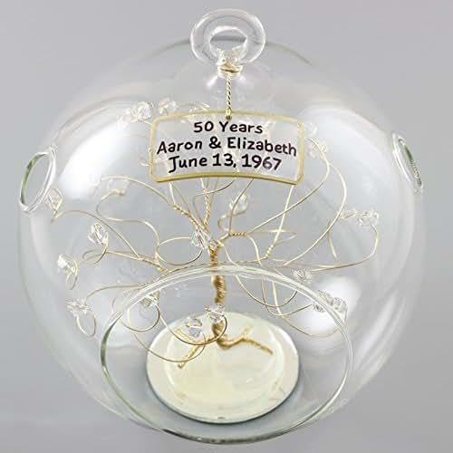Unique Golden Wedding Anniversary Gifts: Amazon.com: 50th Anniversary Ornament Gold Clear Swarovski