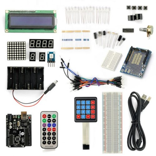 SainSmart UNO R3 Starter Kit with 19 Basic Arduino Tutorial Projects for Beginners (1602 LCD & Prototype Shield & Keyboard included) (Basic Robot Kits compare prices)