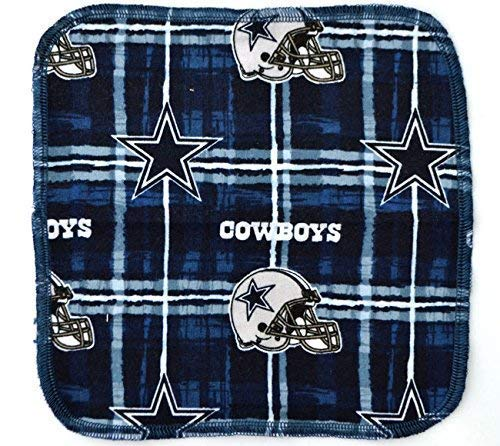 1 Ply Dallas Cowboys Printed Flannel 8x8 Inches Little Wipes Set of 5 (Cowboy Towel Baby)