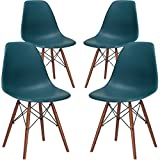 Poly and Bark EM-105-WAL-TEA-X4 Eames Style DSW Side Chair with a Walnut Base (Set of 4), Teal