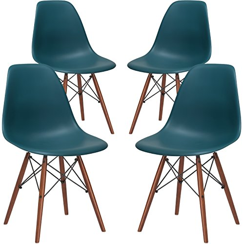 Poly and Bark Vortex Side Chair Walnut Legs, Teal, Set of 4