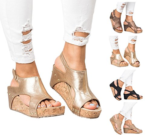 Womens Sandals Espadrille Platform Wedge Sandals Summer Strappy Gladiator Hook-Loop Casual Summer Shoes by Big Tree Gold