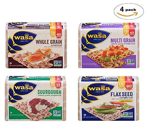 WASA Crispbread Variety 4 Pack: Flax Seed, Multi Grain, Whole Grain, Sourdough