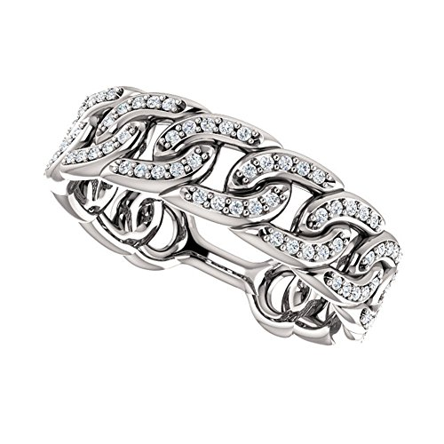1.33 ct Ladies Round Cut Diamond Link Wedding Band Ring in 14 kt White Gold