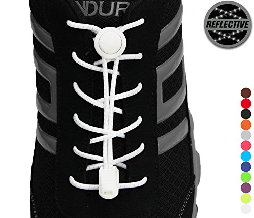 Stout Gears Reflective No Tie Shoelaces Lock System - Elastic Shoe Laces for Sneakers - 1 Pair (White)
