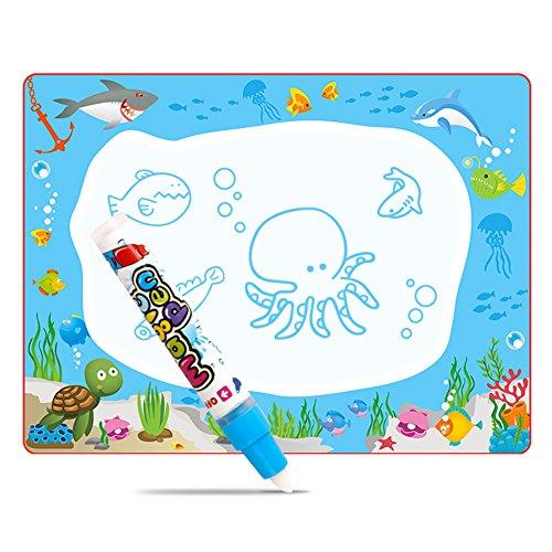XuBa プレミアムウォータードゥードルパッド 魔法の描画マット 教育用おもちゃ 子供 ギフト 64 * 48センチメートル