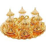 (SET of 6) Turkish Tea Glasses Set Saucers Holders Spoons Decorated (Gold) (Eski)