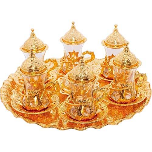 (SET of 6) Turkish Tea Glasses Set Saucers Holders Spoons Decorated (Gold) (Eski) ()