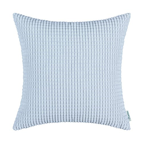 Luxury Decorative Pillows (CaliTime Throw Pillow Cover Case for Couch Sofa Bed, Comfortable Supersoft Corduroy Corn Striped Both Sides, 24 X 24 Inches, Baby Blue)