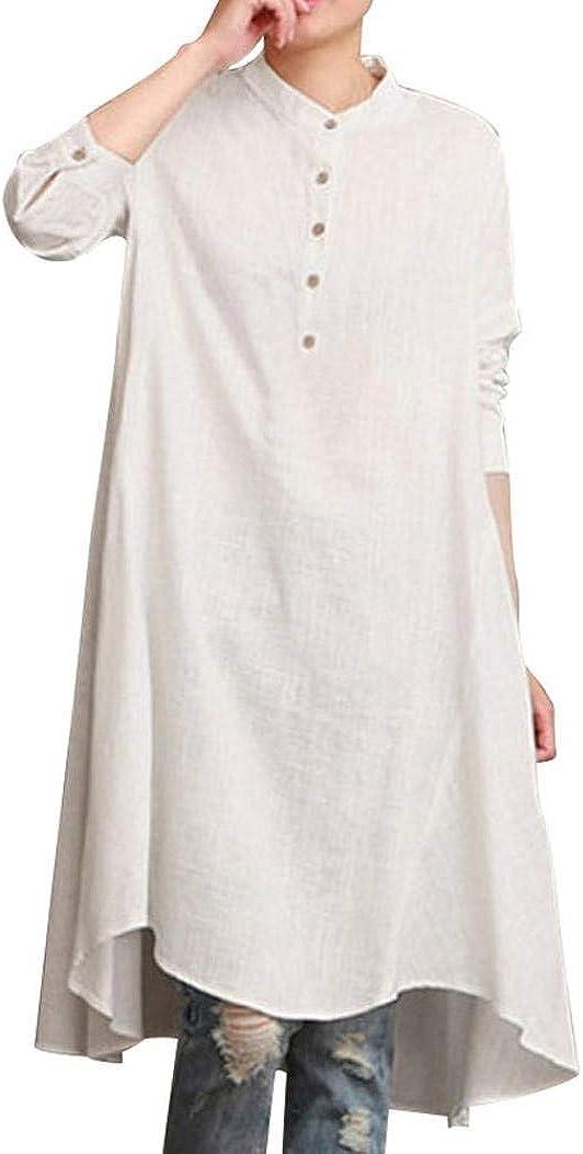 Camisas Lino Mujer Elegantes Largos Vintage Moda Blusa Vestido Manga Larga Stand Cuello con Basic Botonadura Unicolor Anchos Casuales Primavera Otoño Camisas Tops Camisas Mujer Ropa: Amazon.es: Ropa y accesorios