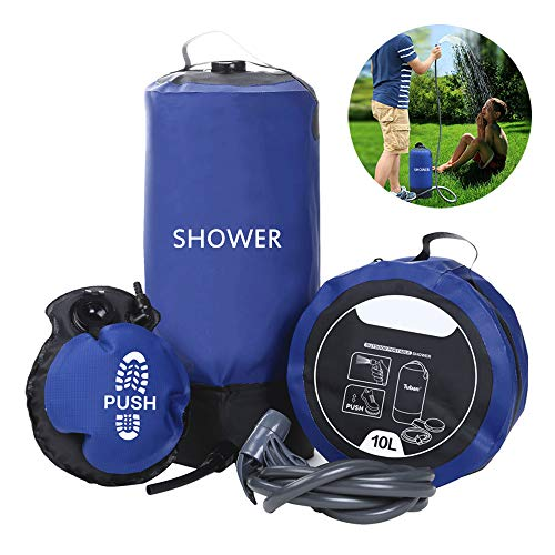 10L Outdoor Inflatable Shower Bag, Portable Durable Large Capacity Camping Bathing Water Bags with Foot Air Pump, Easy Car Washing/Body Cleaning