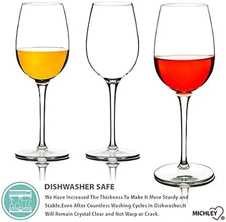 MICHLEY Irrompible Copas de Vino Tinto, 100% Tritan-plástico Vasos Vino Cristal, 355 ML BPA y EA Gratis Vaso de Vino Conjunto de 2
