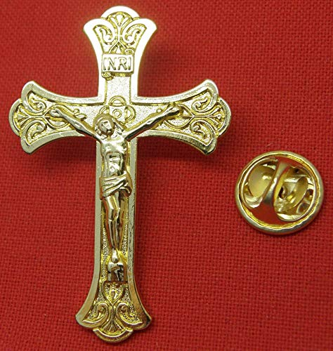 (Large Gold-Coloured Crucifix Catholic Holy Cross INRI Pin)