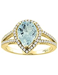14K Gold Natural Aquamarine Ring Pear Shape 9x7 mm Diamond Accents, sizes 5 - 10
