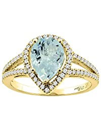 14K Gold Natural Aquamarine Ring Pear Shape 9x7 mm Diamond Accents, sizes 5 - 10