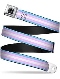 Buckle-Down Seatbelt Belt - Flag Transgender Baby Blue/Baby Pink/White - 1.0