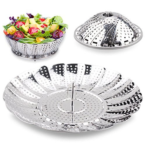 100%Stainless Steel Steamer Basket Seafood Steamer, Food Steamer, Vegetable Steamer - 5.3