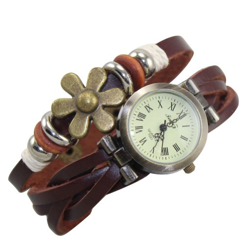 Wrap Stylish Around - Domire Quartz Stylish Weave WRAP Around Leather Bracelet Lady Woman Wrist Watch