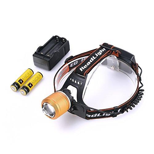 1x2000 Lm CREE XM-L T6 Headlight+2x6000mAh 18650 Batteries+1xCharger by Vander