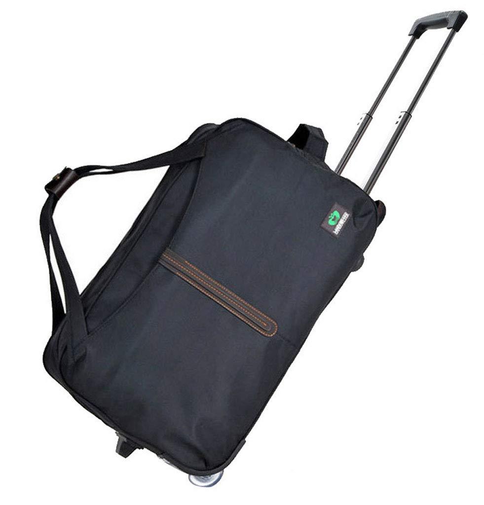 Mesurn JP ファッショントロリーバッグ、ハイグレードラバーワンウェイホイール、ボトム耐摩耗コーナーパッド、折りたたみ式で収納が簡単、ショルダースーツケース 20inch black B07PCJS7Z5