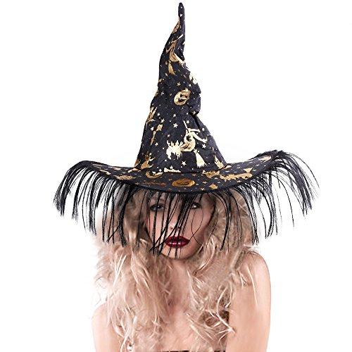 Rabbitgoo Unisex Halloween Costume Pumpkin Printed Witch Hat, Black & (Halloween Costumes Hat)