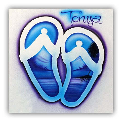23034e62d Image Unavailable. Image not available for. Color: Airbrush T Shirt, Flip  Flop Sandals with Beach Scene