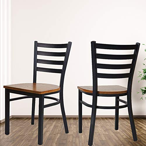 Assembled Stackable Metal Dining Chairs with Solid Wooden Seat, Kitchen Restaurant Bistro Cafe Side Chairs,Set of 2,Black ()