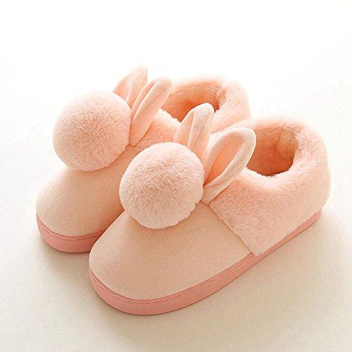Fleece Fur Anti Cute Pink Ball Slip Indoors Slipper Home Slippers Winter Plush Ears Warm Cartoon Womens House nwaxzWnqg0