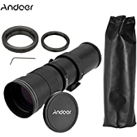 Andoer 420-800mm F/8.3-16 HD Super Telephoto Manual Zoom Lens with T-mount Telephoto Mirror Lens Adapter Ring for Canon EOS Cameras