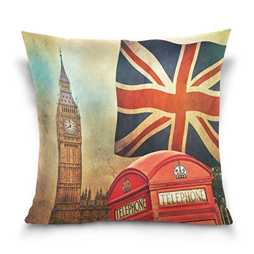 ALAZA Throw Pillow Case Decorative Cushion Cover Square Pillowcase, Vintage London City UK Flag Big Ben Sofa Bed Pillow Case Cover(16x16inch) Twin Sides