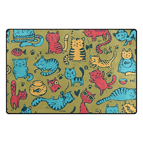 My Daily Funny Cat Fish Doodle Area Rug 20'' x 31'', Door Mat for Living Room Bedroom Kitchen Bathroom Decorative Lightweight Foam Printed Rug by ALAZA