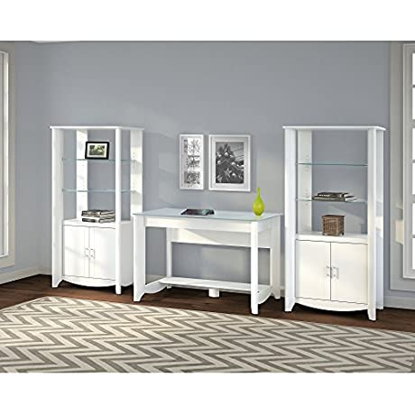Aero Writing Desk And Set Of 2 Tall Library Storage Cabinets With Doors