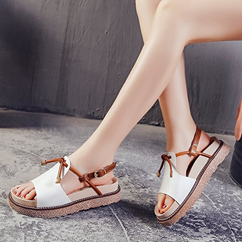 Soft Bottom wite Flat Shoes Fine ZHANGJIA Sandals Wear Two Thick Female Soled Simple with Beach Wild ZZRwzqvx