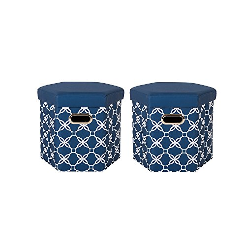 Glitzhome Foldable Oxford Hexahedron Storage Ottomans With Padded Seat Navy Blue, Set Of 2 (Navy Blue Padded Recliner)
