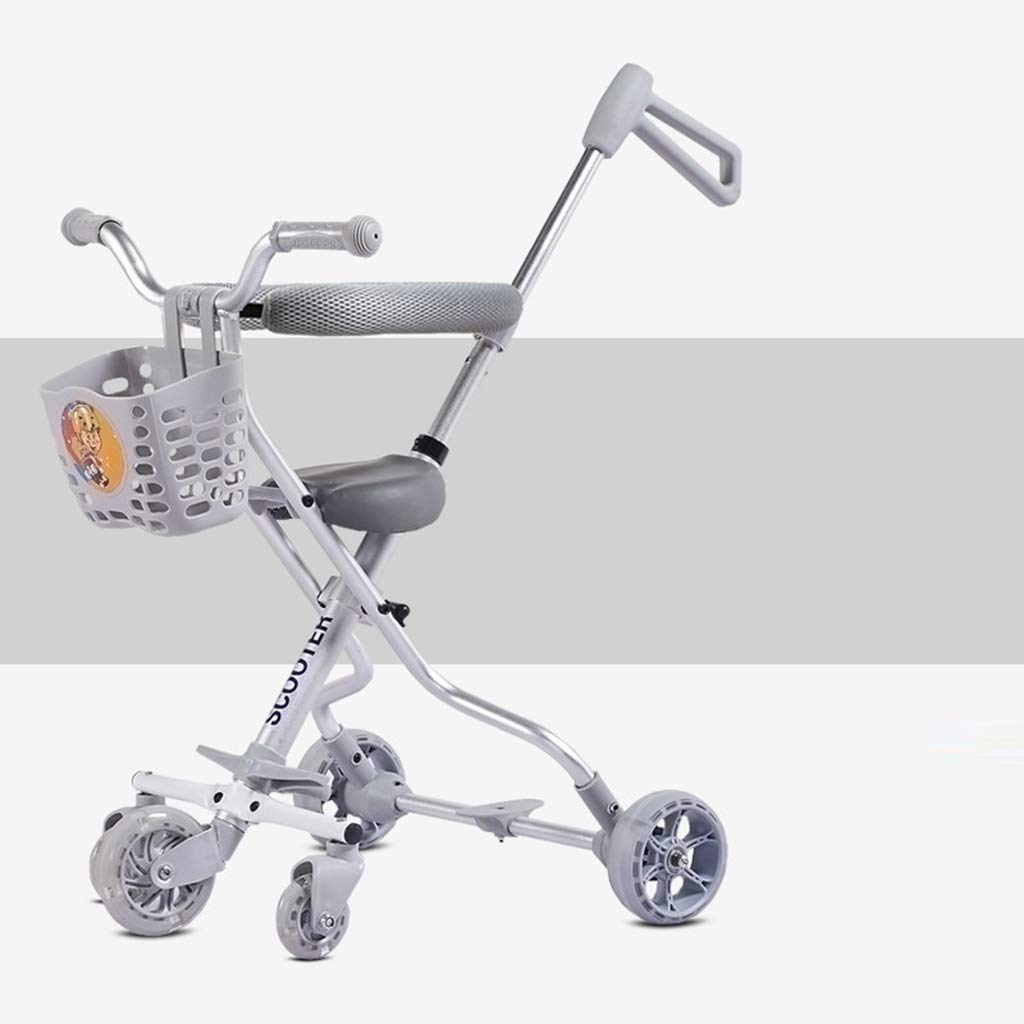 Baby Four-Wheeled Shatter-Resistant Lightweight Folding Children's Trolley Trend Adventure Travel System Range Aviation Aluminum Silver 6.3. (Color : Silver, Size : C)