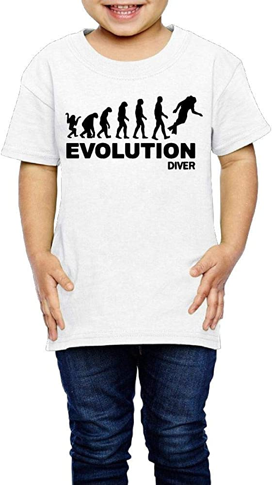 Kcloer24 Evolution Diver Diving Kids Cute T-Shirt Graphic Tee 2-6 Years Old