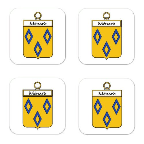Menard Family Crest Square Coasters Coat Of Arms Coasters   Set Of 4