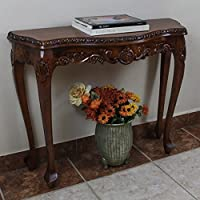Custom Elegant Transitional Style Hand-Carved Brown Wood Console Table