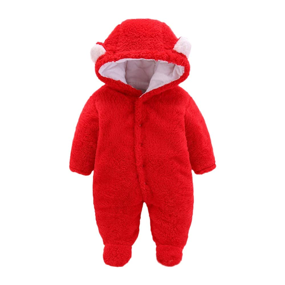 Vinjeely Newborn Baby Girls Boys Solid Ear Velvet Hooded Romper