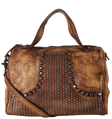 (Rimen & Co. Genuine Leather Studded Design Décor Speedy Bag Accented with Removable Strap 150355)
