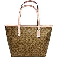 Coach Signature City Zip Tote Bag Handbag (SV/Khaki Blush)