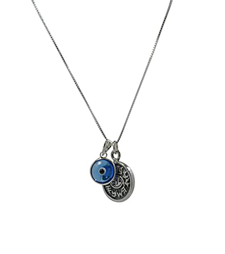 Unisex Evil Eye Charm & Protection Solomon Seal Sterling Silver Necklace IJJ8FbNW