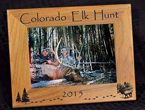 Elk Hunt Picture Frame ~ Hunting Gift ~ Gift For Elk Hunter ~ Hunting Picture Frame ~ Elk Hunter Gift ~ First Hunt Gift ~ Customize Your Engraving ~ Hunting ()