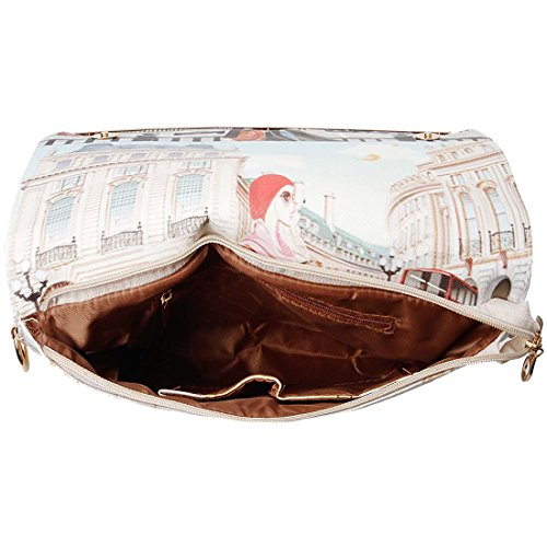 BMC Womens Textured PU Faux Leather Postage Stamp Design Print Flap Fashion Clutch Handbag - London Chic by b.m.c (Image #4)